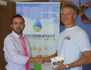 Westernport employee shaking hands with competition winner