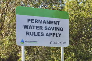 Permanent Water Saving Rules sign