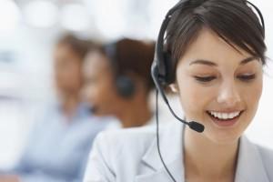 Customer service lady on a phone call