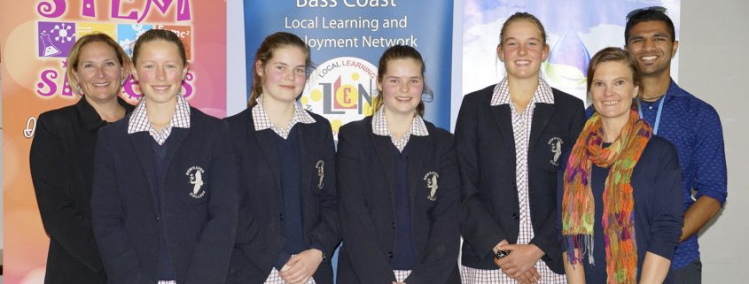 Newhaven College students from STEM Sisters program with Westernport Water staff