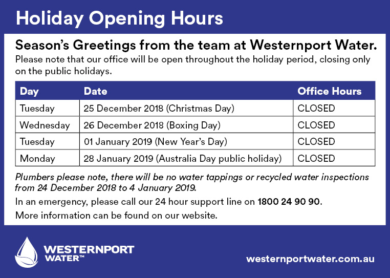 Holiday Opening Hours December 2018 - January 2019