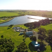 Aerial image of treated effluent lagoon