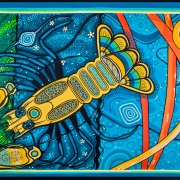 Titled Water Heals a contemporary design of a crayfish.